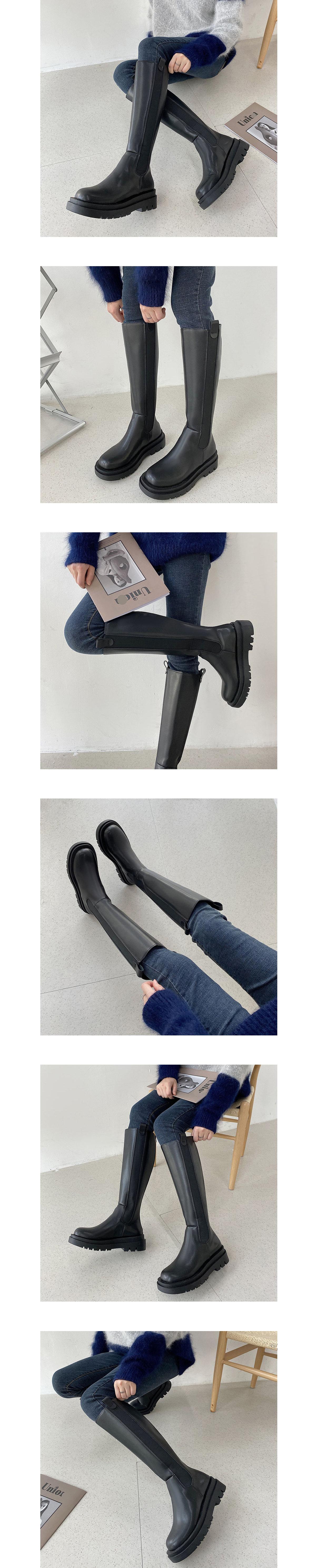 拼接厚底高筒騎士長靴