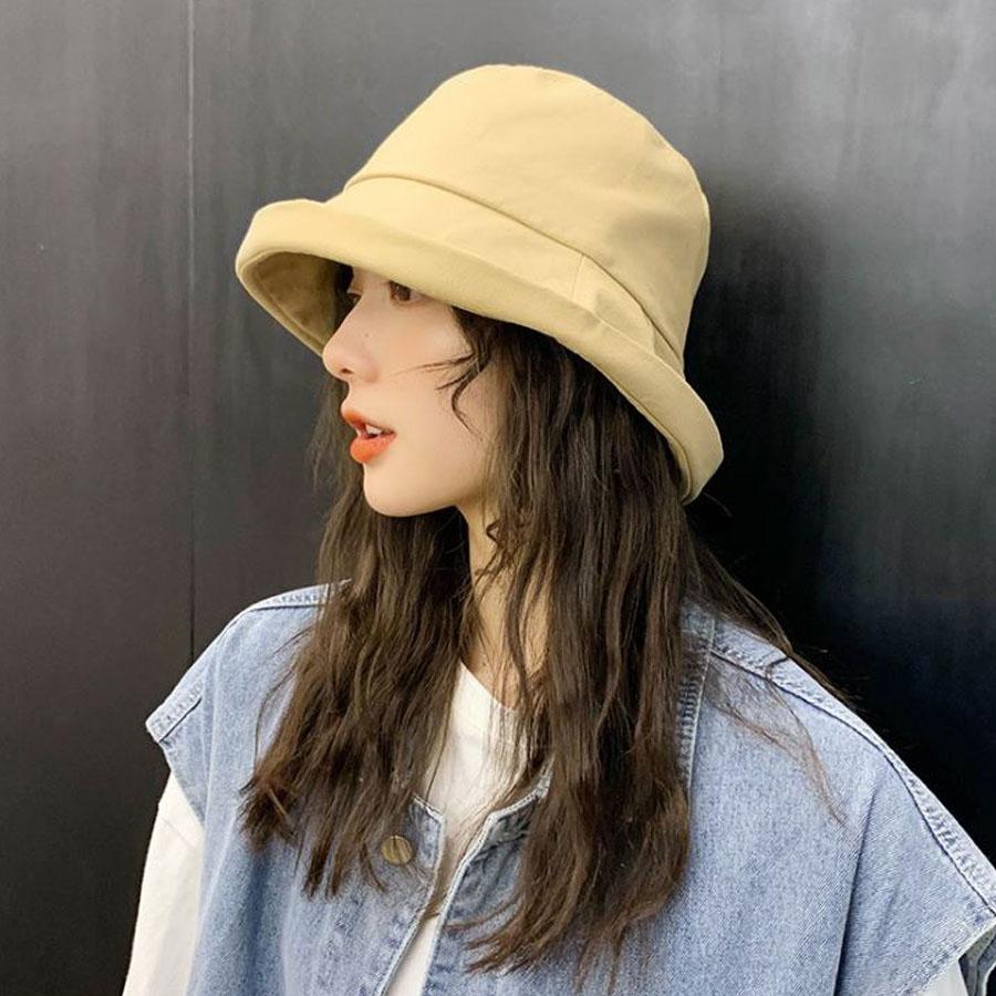 韓版素色捲邊漁夫帽.5色