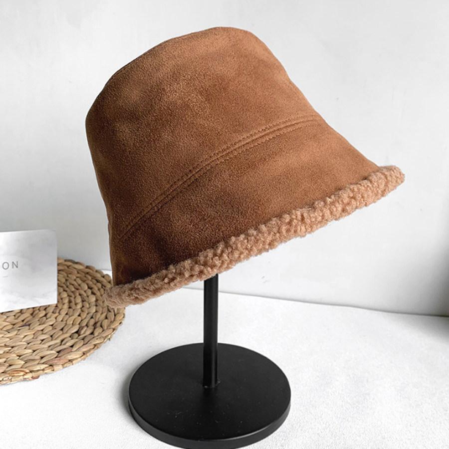 純色麂皮加絨兩用漁夫帽,,,K7020016,純色麂皮加絨兩用漁夫帽,