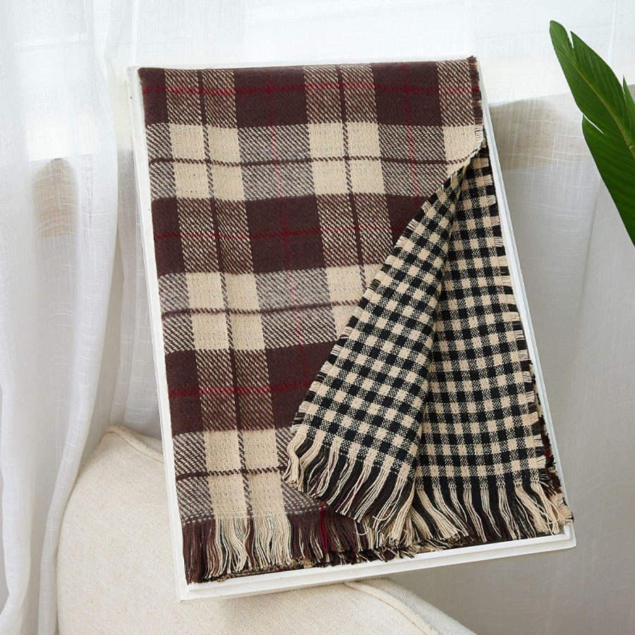 雙面雙色格紋舒適絨圍巾(8色),,,K7020017,雙面雙色格紋舒適絨圍巾(8色),