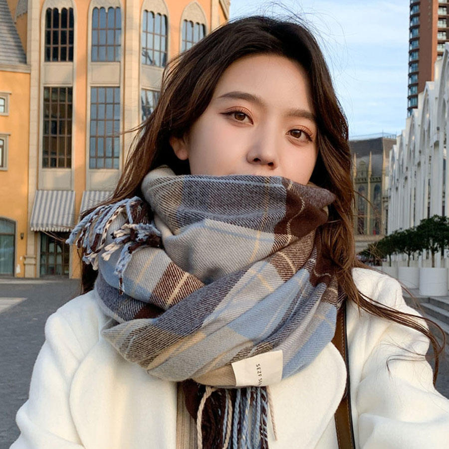 日系復古格紋圍巾(3色)