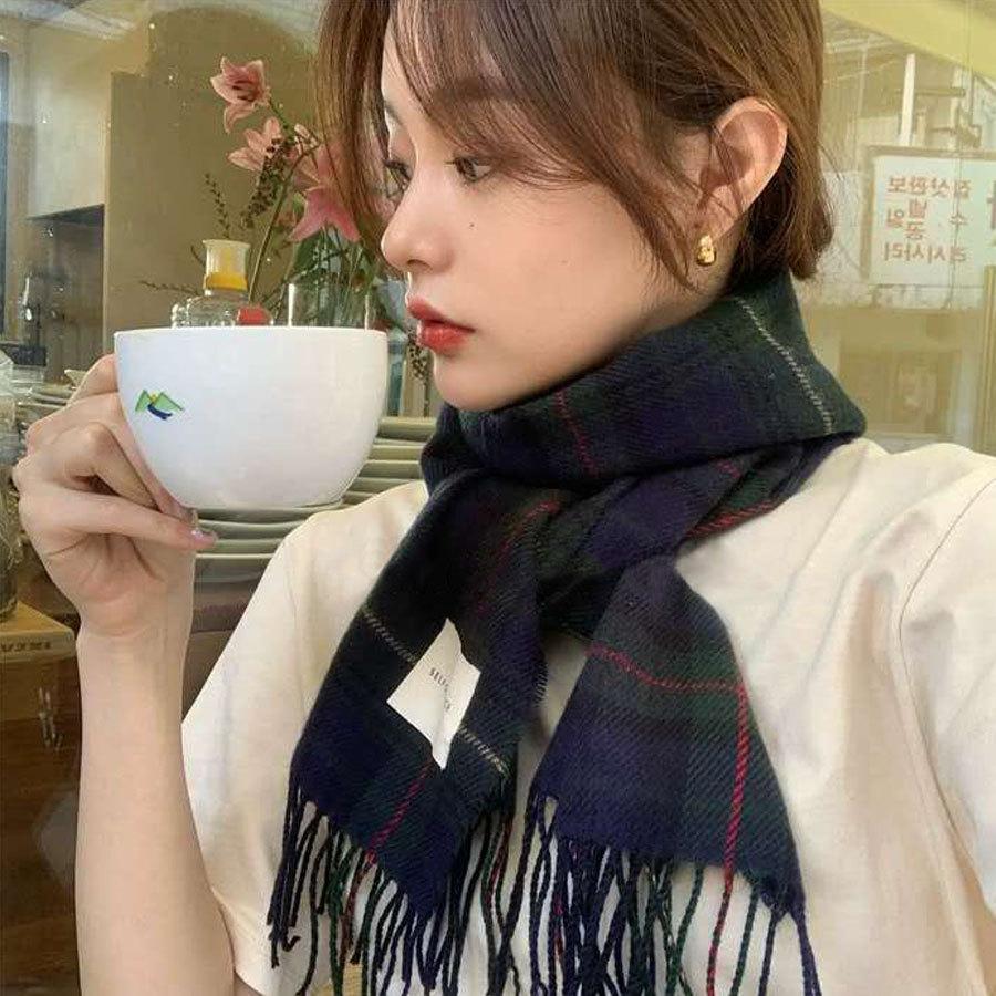 日系復古格紋圍巾(3色),,,K7020018,日系復古格紋圍巾(3色),