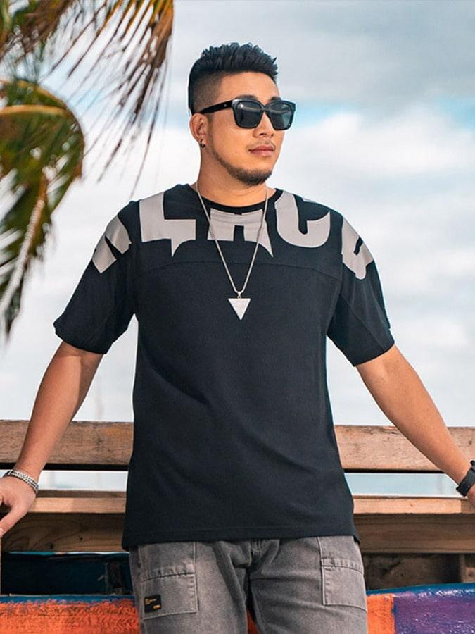 大尺碼.字母休閒純棉短袖T恤,,,L1010168,大尺碼.字母休閒純棉短袖T恤,