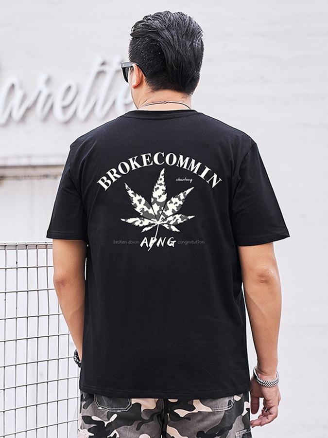 大尺碼.迷彩麻葉休閒短袖T恤,,,L1010172,大尺碼.迷彩麻葉休閒短袖T恤,