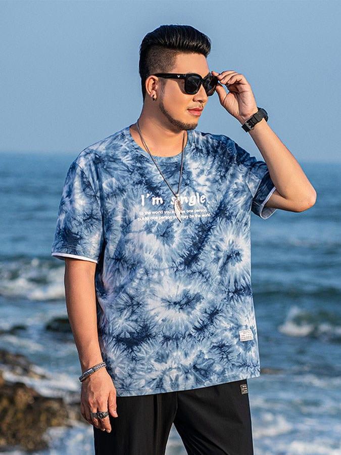 大尺碼.藍色海洋渲染短袖T恤,,,L1010187,大尺碼.藍色海洋渲染短袖T恤,