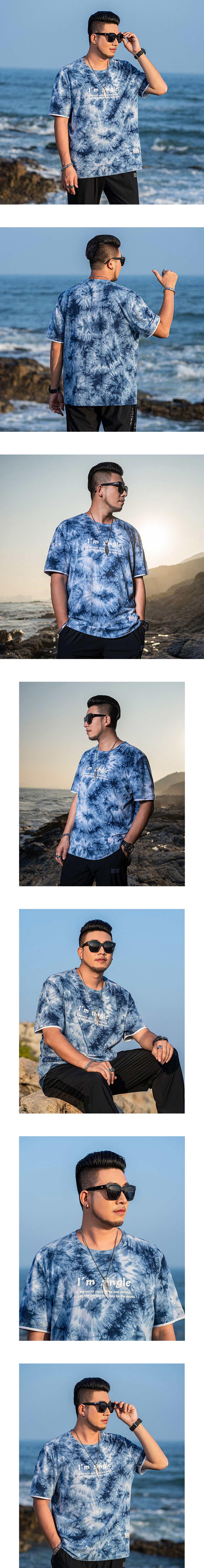 大尺碼.藍色海洋渲染短袖T恤