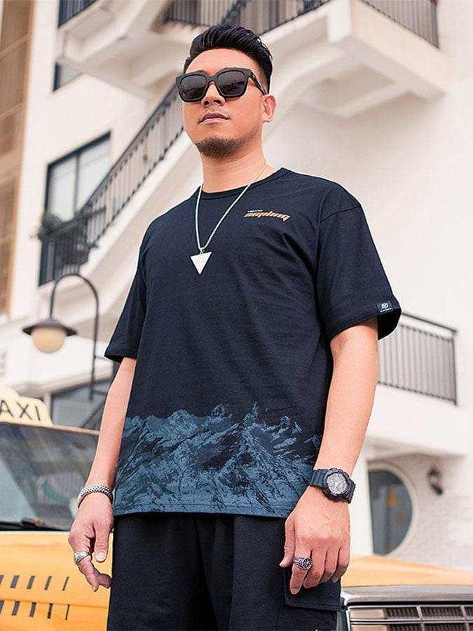 大尺碼.山脈印花休閒短袖T恤,,,L1010190,大尺碼.山脈印花休閒短袖T恤,