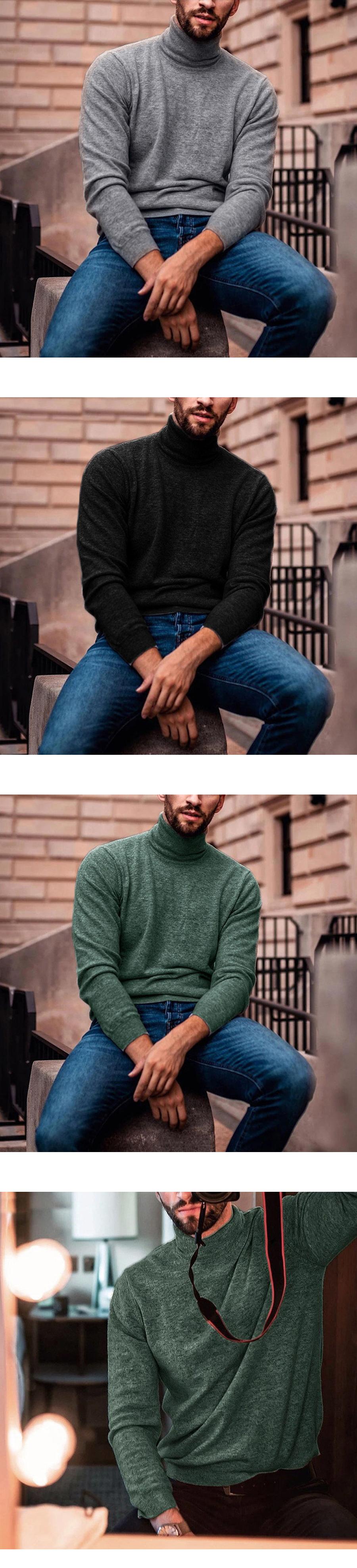 大尺碼.素色混紡高領毛衣