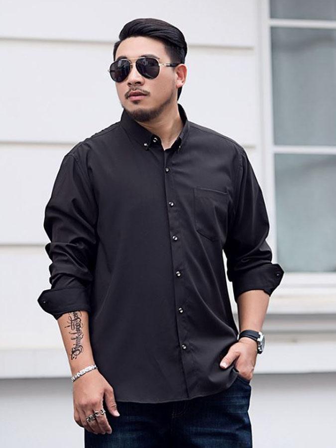 大尺碼.簡約質感長袖襯衫