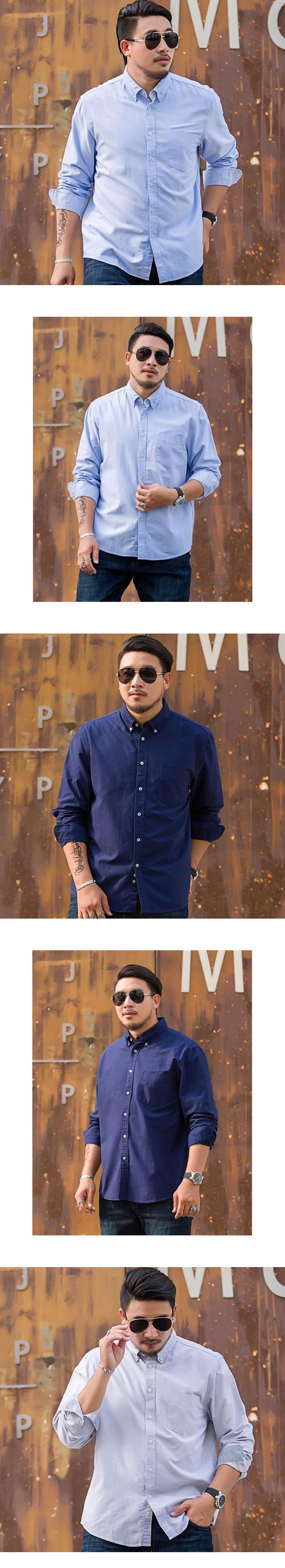 大尺碼.商務素色長袖襯衫(8色)