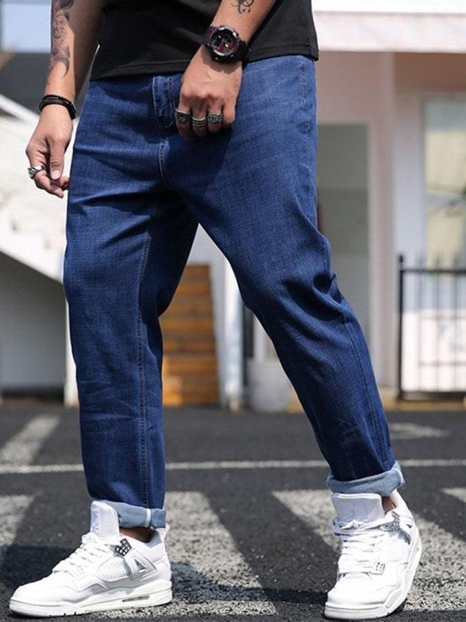 大尺碼.薄款彈性休閒牛仔褲