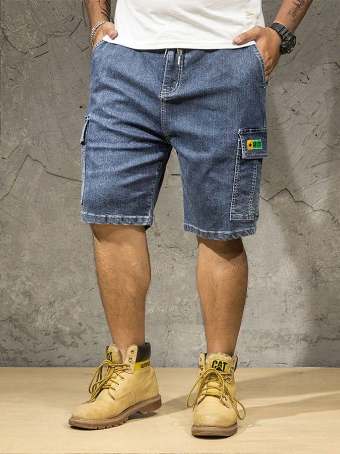 大尺碼.多口袋寬鬆牛仔短褲