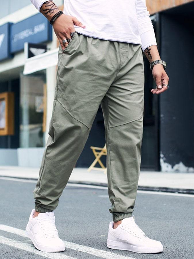 大尺碼.透氣輕柔棉素色縮口褲