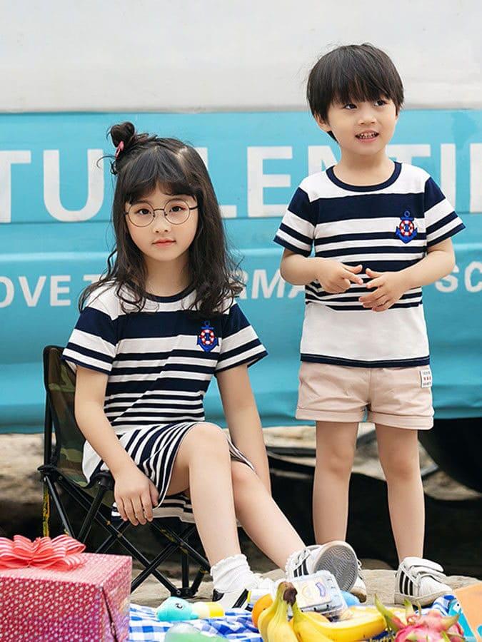 橫條紋船錨夏日短袖上衣.兒童款