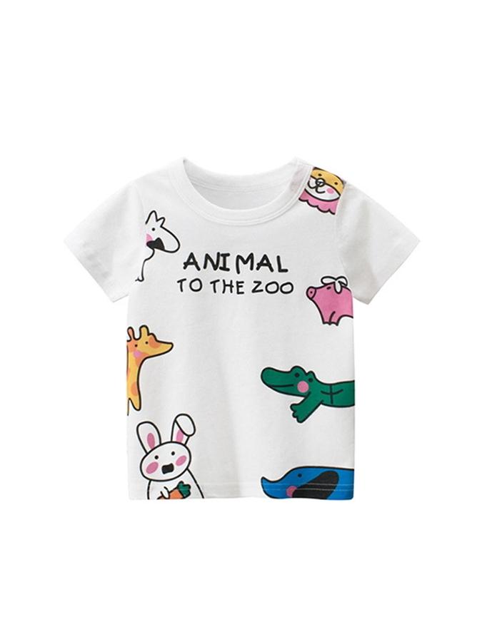 彩繪動物園圓領短袖上衣.童裝
