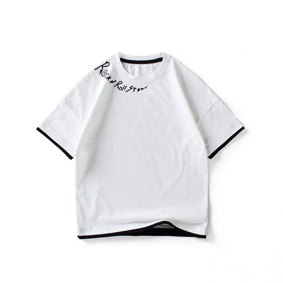 閃電寬鬆假兩件短袖上衣.童裝,,,Y1010079,閃電寬鬆假兩件短袖上衣.童裝,