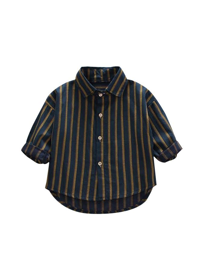 紳士寶寶.黃綠條紋長袖襯衫.童裝