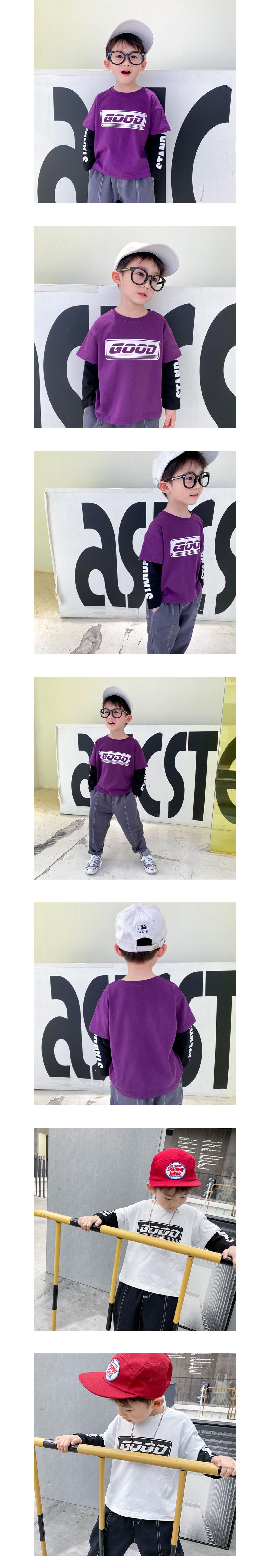 美式GOOD字母兒童假兩件長袖上衣.童裝