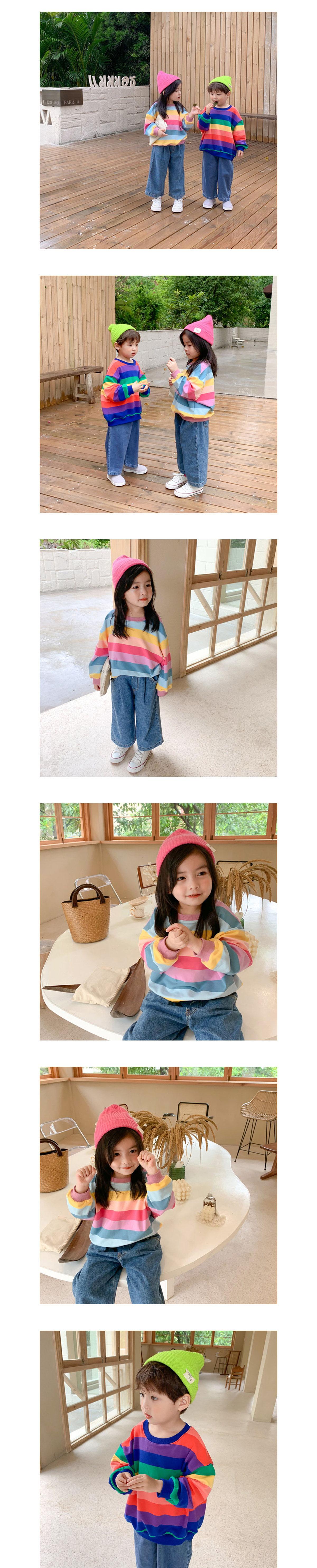 滿版彩虹條紋寬鬆圓領上衣.童裝
