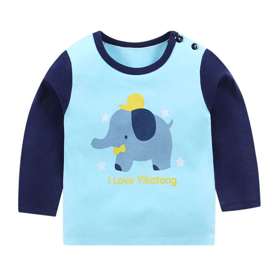 兒童小藍象長袖棒球圓領T恤.童裝