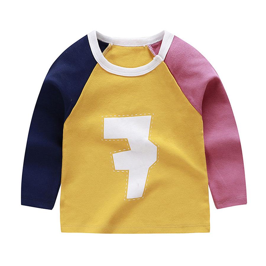 兒童數字拼色長袖上衣.童裝