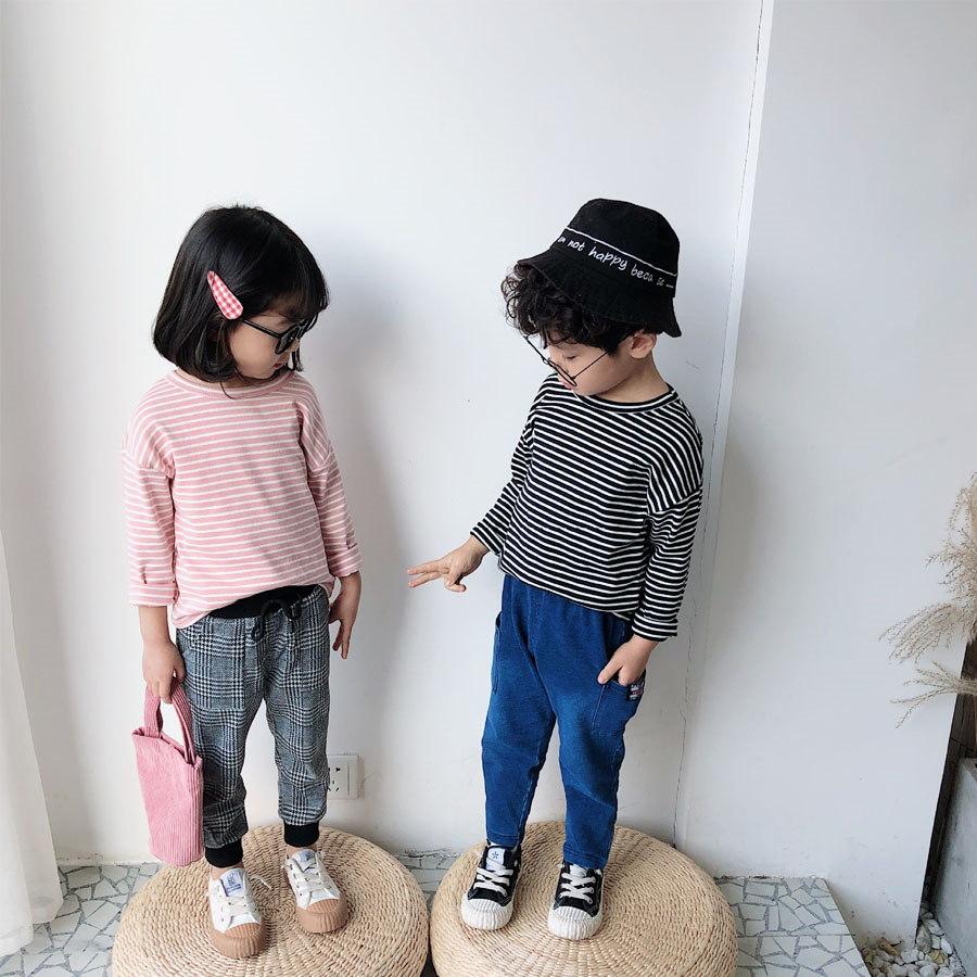 兒童細條紋圓領長袖上衣.童裝