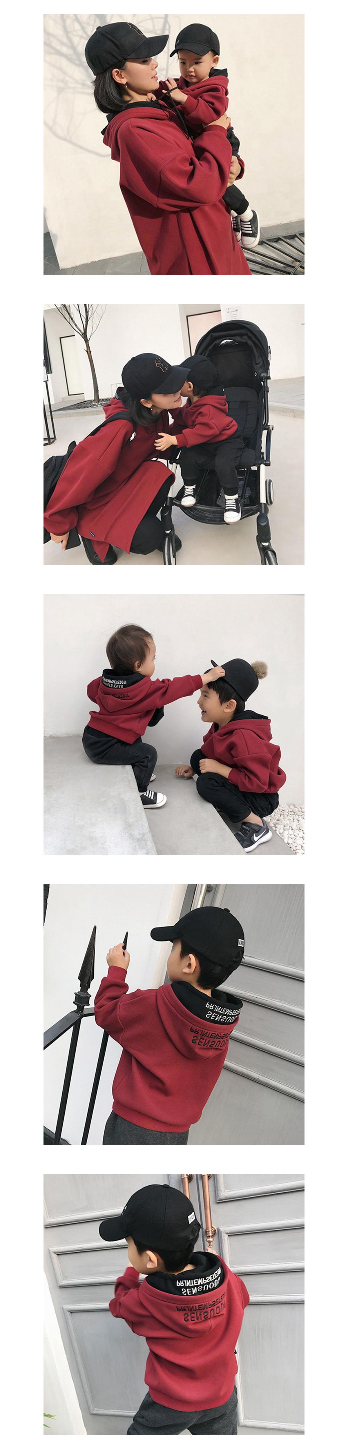 親子裝.素色字母韓版雙層連帽T.童裝