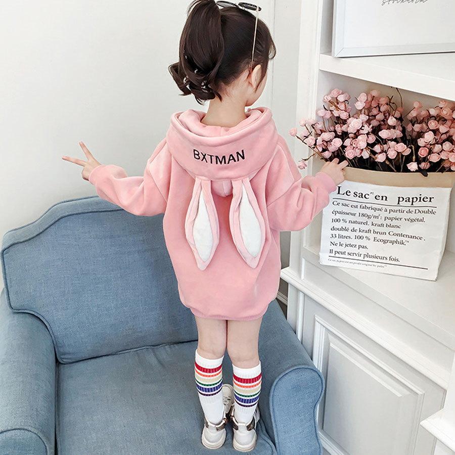 金絲絨.兔子耳朵造型中長版連帽上衣.童裝