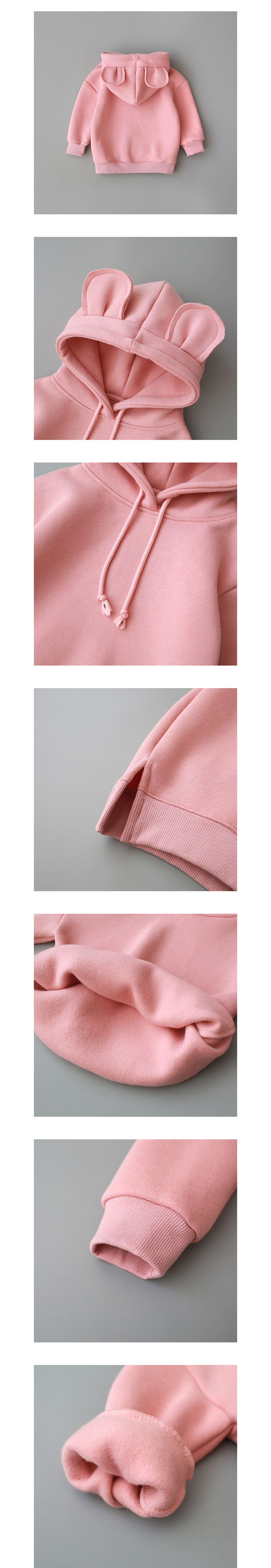 兒童帽T.保暖內絨毛耳朵造型連帽上衣