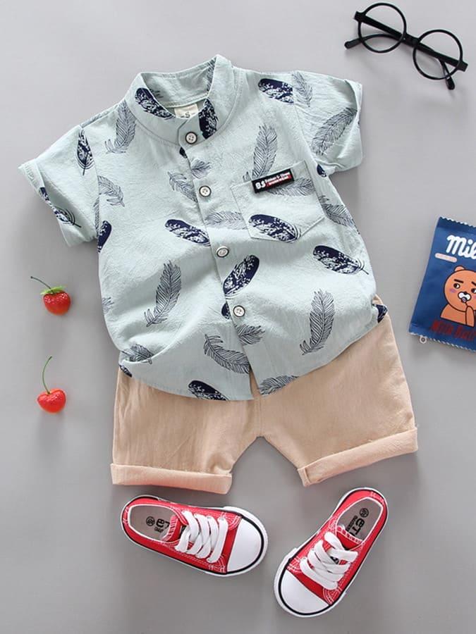 套裝.薄款羽毛印花口袋圓領衫兩件套.童裝,,,Y1040023,套裝.薄款羽毛印花口袋圓領衫兩件套.童裝,