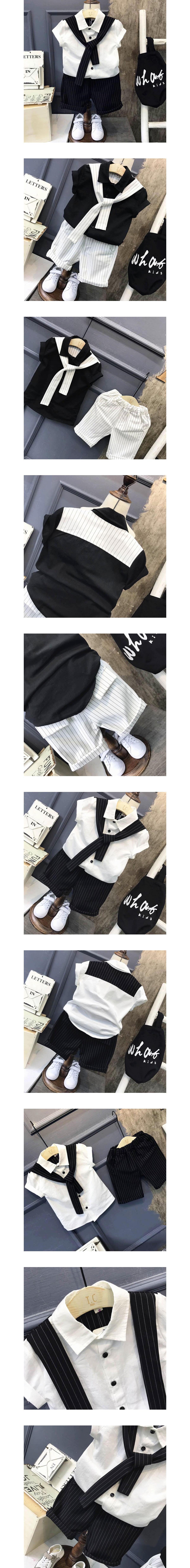 套裝.小小紳士學院風直條紋兩件組.童裝