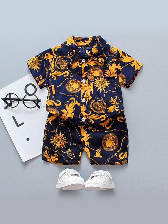 套裝.典雅太陽花前口袋花襯衫兩件組.童裝,,,Y1040086,套裝.典雅太陽花前口袋花襯衫兩件組.童裝,
