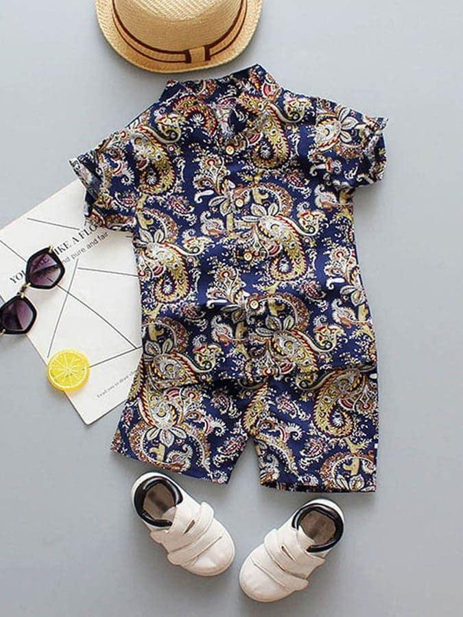 套裝.東方雕刻印花襯衫兩件組.童裝