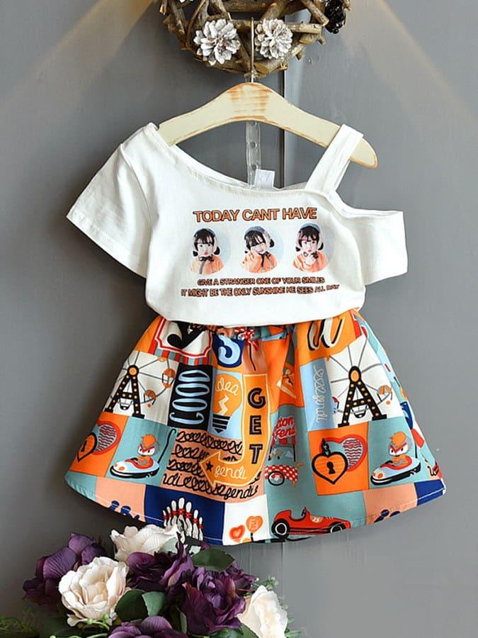 套裝.個性露肩女童印花兩件組.童裝