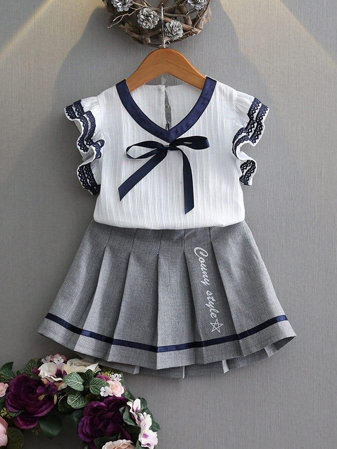 套裝.花邊短袖學院風百褶裙.童裝