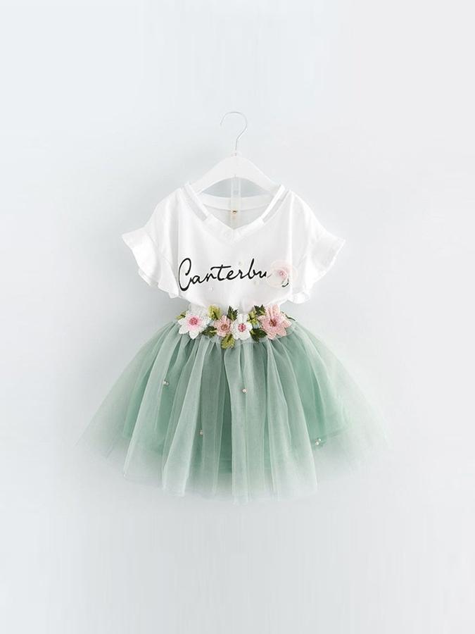 套裝.簍空英字V領花朵仙氣澎澎裙兩件組.童裝