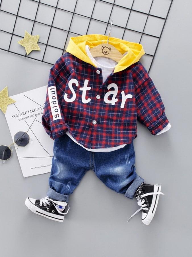 套裝.STAR格子連帽襯衫牛仔褲兩件組.童裝,,,Y1040165,套裝.STAR格子連帽襯衫牛仔褲兩件組.童裝,