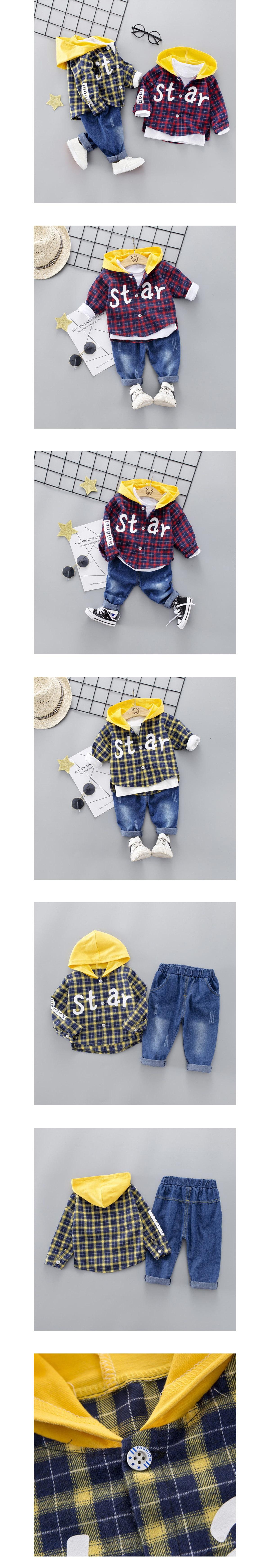 套裝.STAR格子連帽襯衫牛仔褲兩件組.童裝