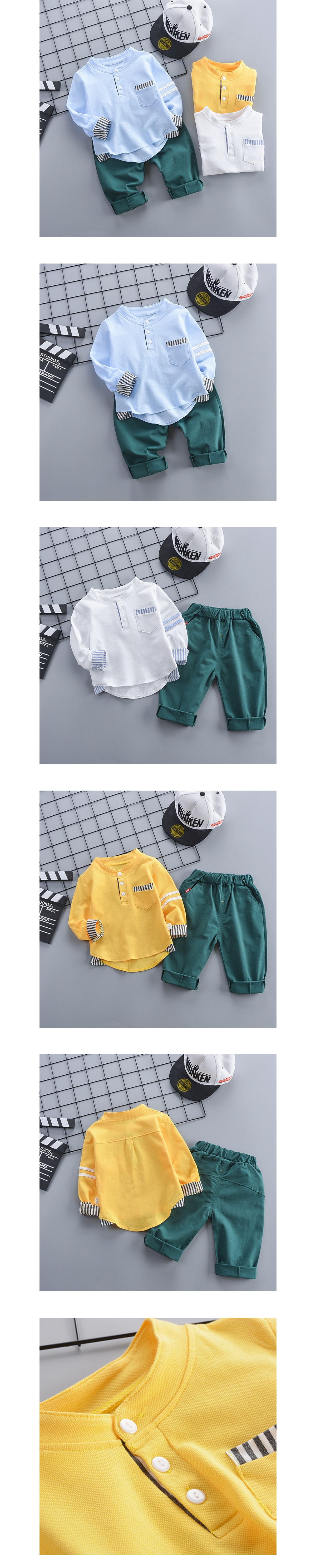 套裝.條紋拼接中山領兩件組.童裝