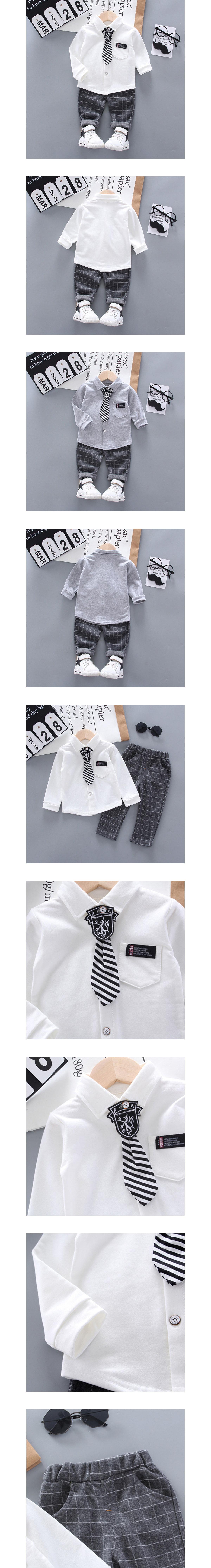 套裝.徽章領帶舒適襯衫兩件組.童裝