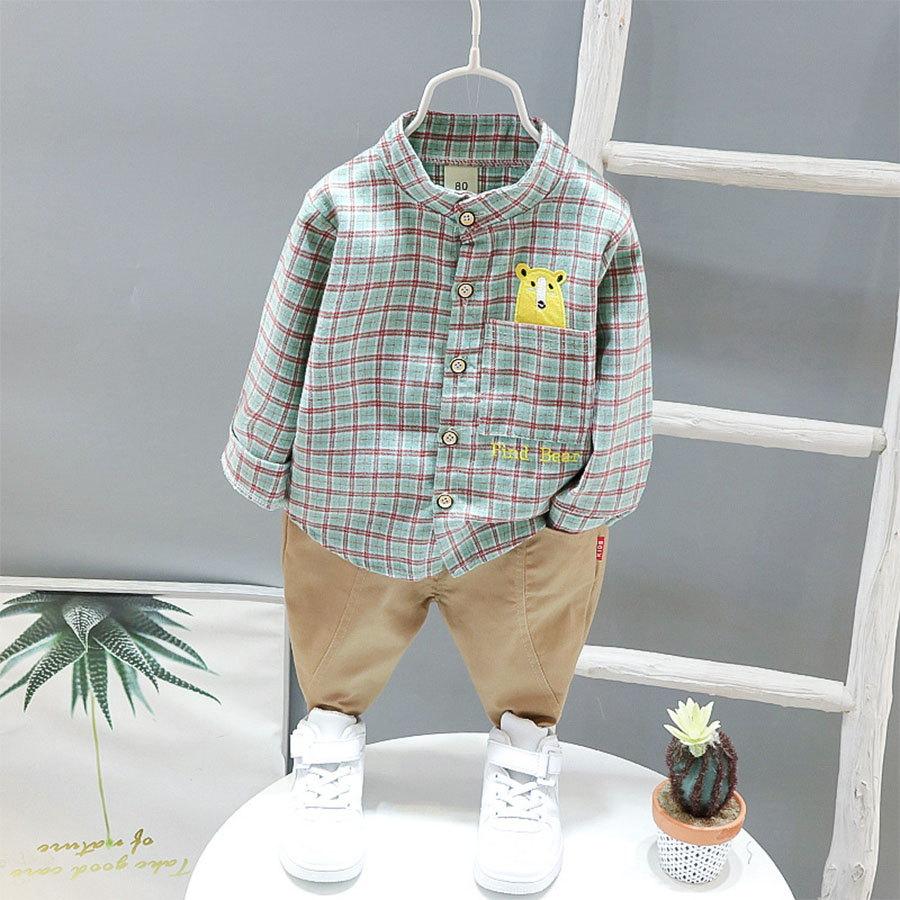 套裝.日系熊熊格子長袖襯衫兩件組.童裝,,,Y1040183,套裝.日系熊熊格子長袖襯衫兩件組.童裝,
