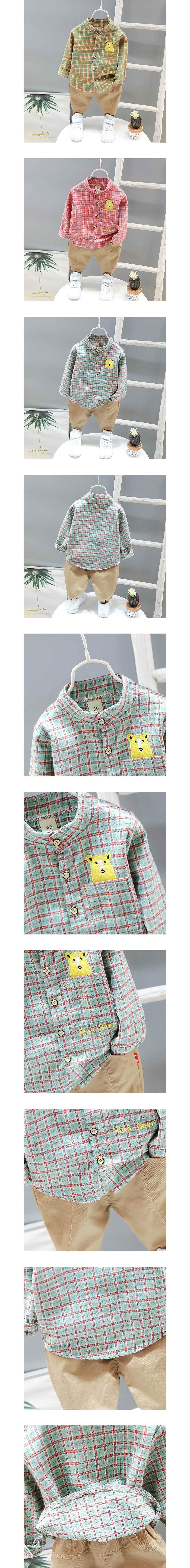 套裝.日系熊熊格子長袖襯衫兩件組.童裝