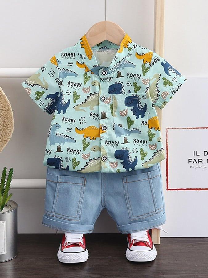 套裝.滿版恐龍圓領襯衫牛仔短褲兩件組.童裝