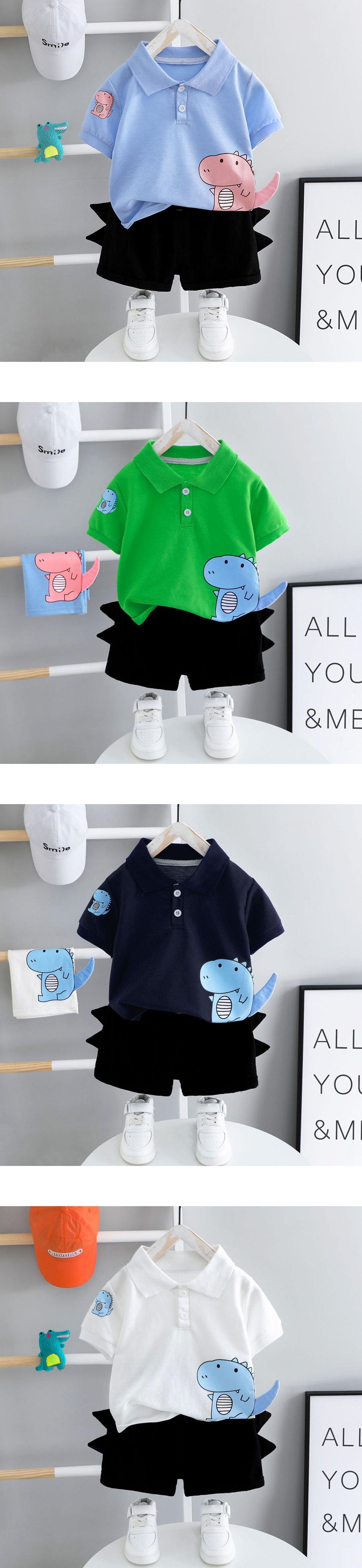 套裝.小恐龍造型褲POLO短袖兩件組.童裝