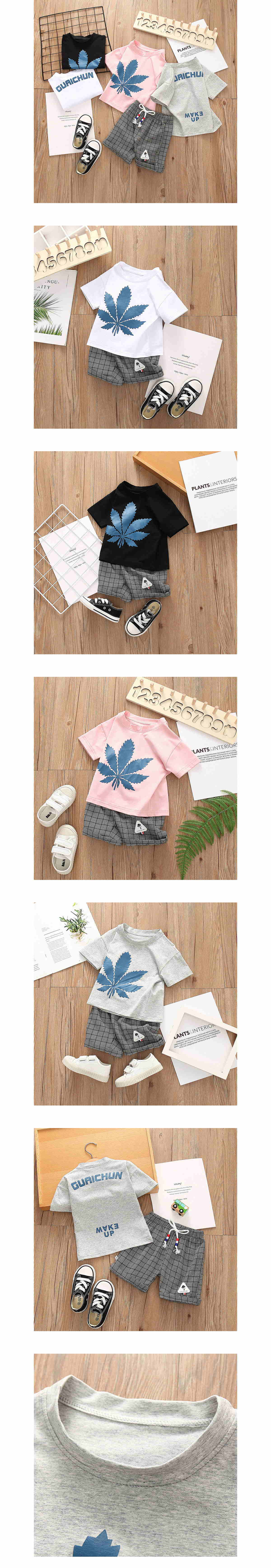 套裝.格子楓葉舒適圓領上衣兩件組.童裝