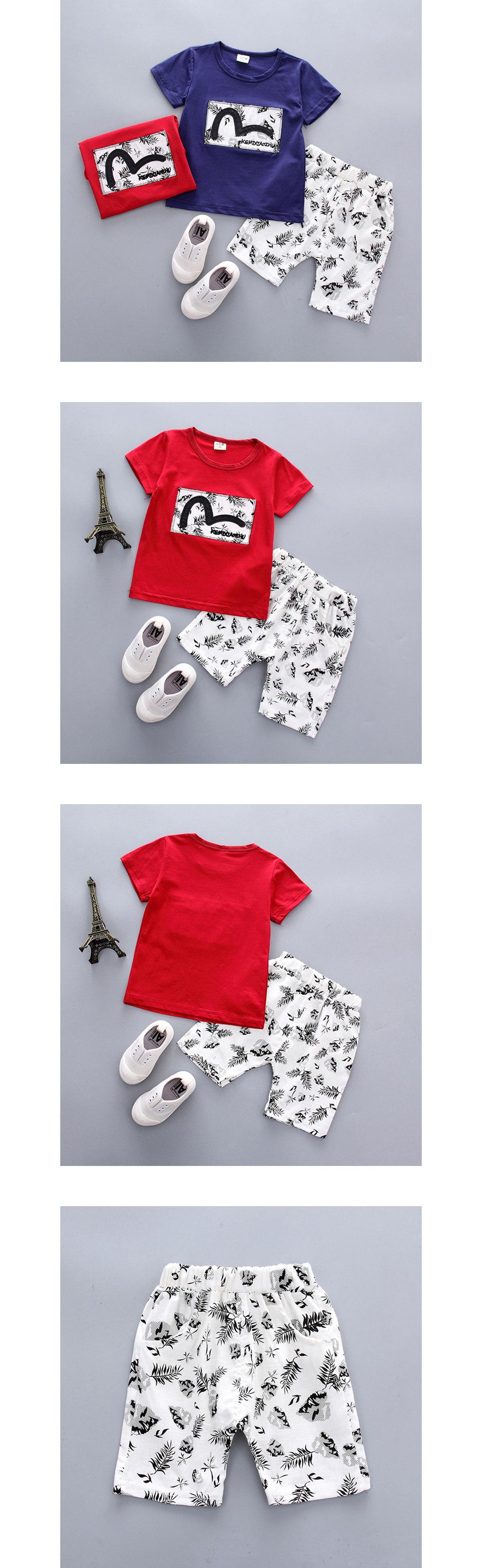套裝.植物樹葉印花短袖兩件組.童裝