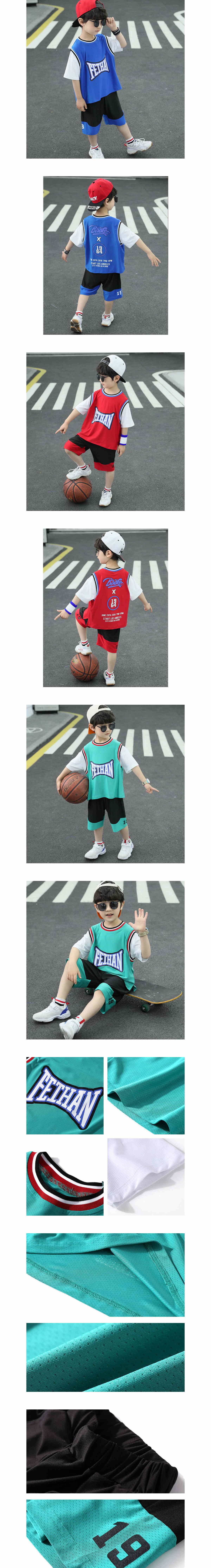 套裝.兒童寬鬆短袖籃球服兩件組.童裝