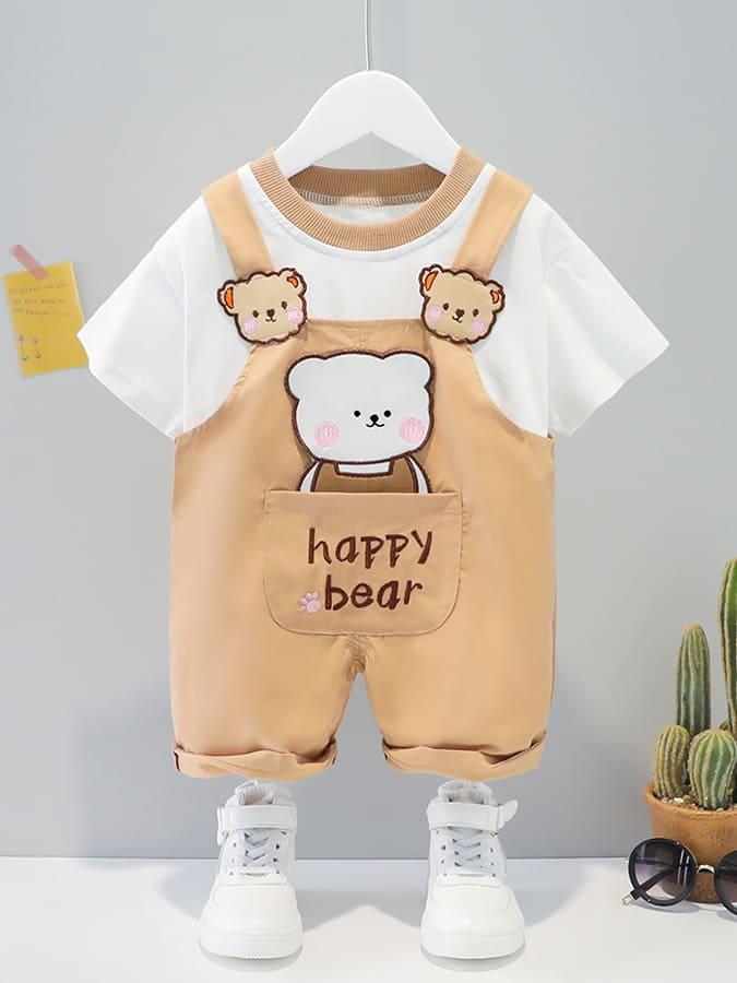 套裝.口袋小動物短袖背帶兩件組.童裝