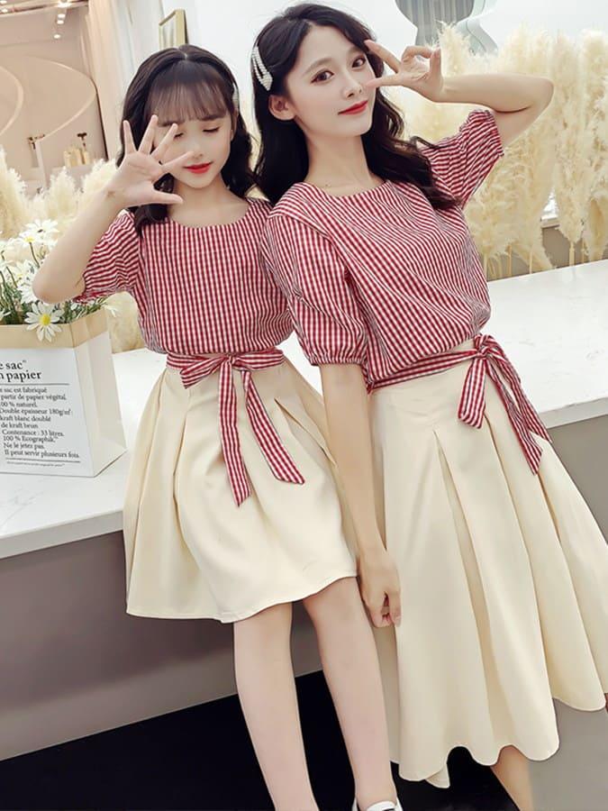 親子裝.平口細格紋上衣半身裙兩件組.童裝,,,Y1040269,親子裝.平口細格紋上衣半身裙兩件組.童裝,