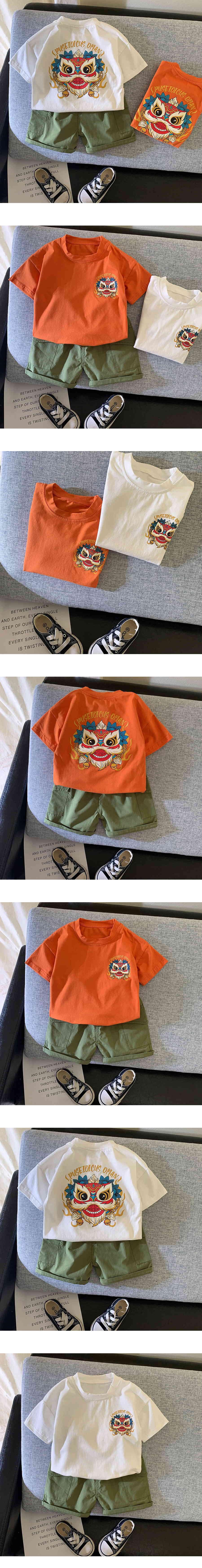套裝.兒童個性服飾舞獅圖T兩件組.童裝